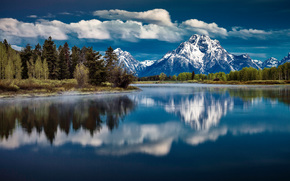 Grand Teton National Park, озеро, горы, пейзаж