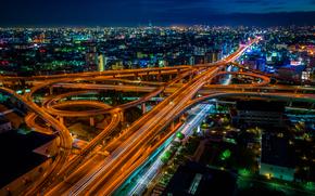 Осака, япония, город, ночь