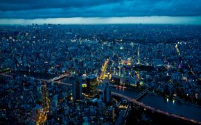 токио, япония, город, ночь