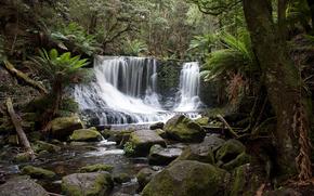 водопад, лес, камни, пейзаж
