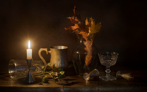 vidrio, vaso de vino, vela, naturaleza muerta