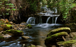滝, 石, 小さな川, 自然