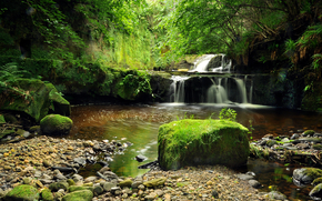 waterfall, stones, small river, nature