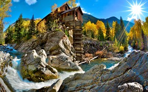 Crystal Mill, Colorado, пейзаж