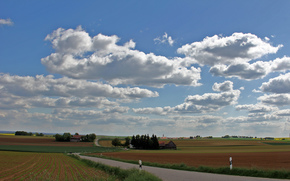 field, clouds, road, landscape