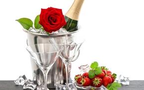 Nowy, Rok, szampan, święta, nastrój, truskawki, szampanówki