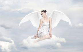 dziewczyna, kobieta, anioł, skrzydła, bałe, chmurki