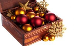 feliz, férias, caixa, Natal, decoração