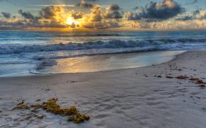 tramonto, oceano, puntellare, paesaggio