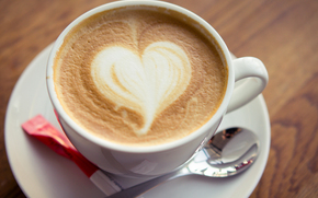 jedzenie, napoje, kawa, mleko, filiżanka, serce