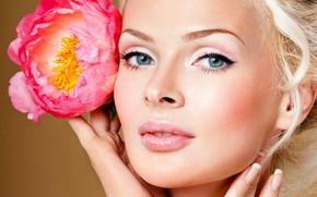 ludzie, kobieta, modelka, twarz, kwiat