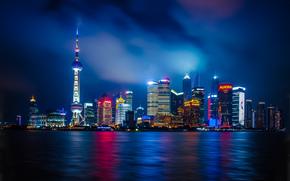 Shanghai, città, notte