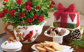 happy, holidays, dinner, coffee, time, cookies, flowers, roses, gift