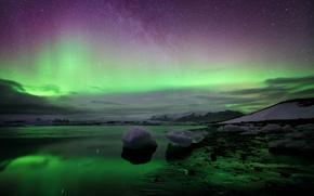 northern lights, Iceland, landscape