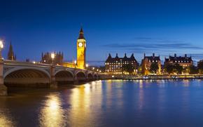 londra, ponte, gran bretagna, Tamigi, luci, notte, bella, paesaggio, città, cielo, edifici, Big Ben, panorama, Londra, ponte, UK