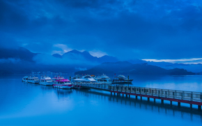 Mountains, CLOUDS, fog, bay, wharf, Boat