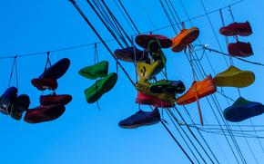 sky, wire, krasovki, shoes
