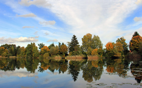 landscape, autumn, lake, trees, reflection