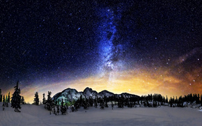 Milky Way, shines, mountains, Mt. Baker-Snoqualmie National Forest, Washington, USA