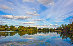 landscape, autumn, lake, trees, reflection, clouds