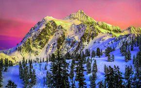 Зима, горы, снег, деревья, закат