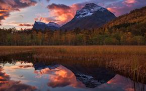 sunrise, riflessione, More og Romsdal, norvegia