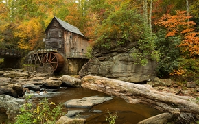 Glade Creek Grist Mill, Babcock State Park, West Virginia, autunno, mulino, piccolo fiume, foresta