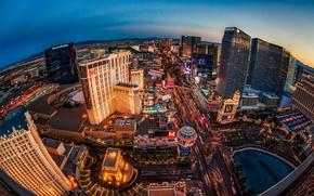 Las Vegas, Nevada, Las Vegas, NV, Nevada, la vida nocturna de la ciudad, panorama, edificio