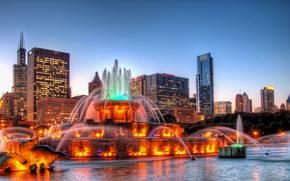 USA, Shicago, city, night, lights, FOUNTAIN, panoramma