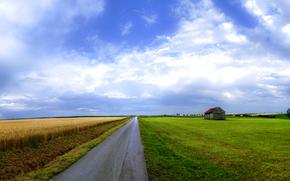 дорога, поле, дом, небо, красота, широкоформатные обои