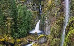 Montagne, Rocce, cascata, piccolo fiume, ponte, alberi, paesaggio