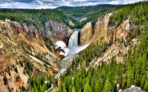 Yellowstone National Park, waterfall, river, landscape