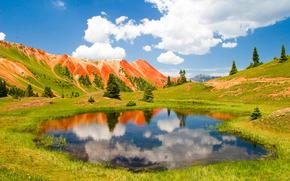 Montanhas, Hills, árvores, lago, paisagem