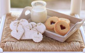 food, sweets, sweet, dessert, cookies, milk