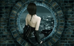 wall, window, girl, city, Creativity