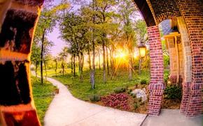 закат, арка, дорожка, деревья, интерьер
