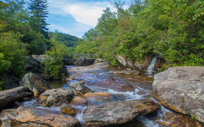 fiume, pietre, alberi, ponte, paesaggio