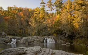 осень, река, лес, водопады, скалы, пейзаж