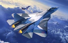 многоцелевой истребитель, Т-50, ПАК ФА, перспективный авиационный комплекс фронтовой авиации, самолет, арт