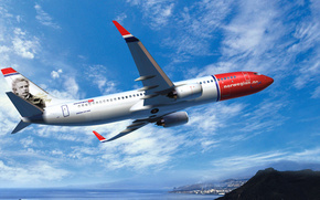 самолет, boeing, norwegian air, 737, авиалайнер