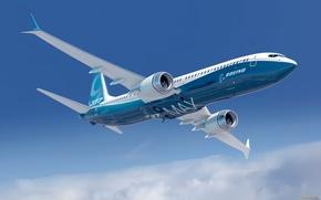 Самолет, Боинг, Boeing, небо, голубой