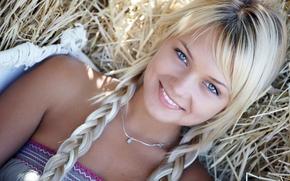 girl, eyes, interesting, smile