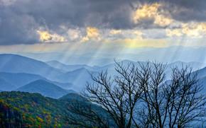 Mountains, sky, Rays, tree, landscape