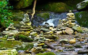 cascata, pietre, muschio, natura