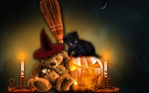 Halloween, Bruin, kitten, 3d