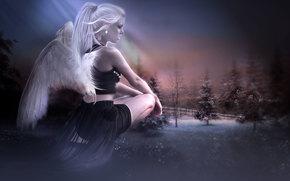 girl, angel, 3d