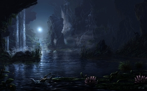 3d, art, night, lake, Rocks, waterfall