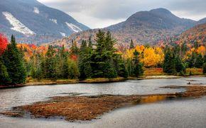autunno, Montagne, alberi, fiume, paesaggio
