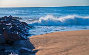 海, 溅, 石头, 岸, 景观