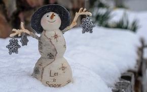 feliz, vacaciones, alegre, Navidad, muñeco de nieve, nieve, invierno